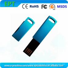 Mini movimentação azul do flash de USB do metal com logotipo personalizado (EM603)