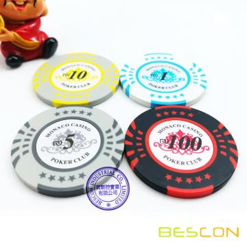 Bescon High Quality New Style Two Tone Custom Sticker Clay Poker Chips