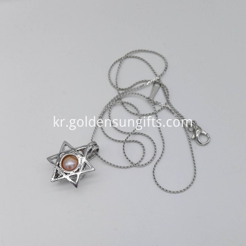 Hexagon Cage Pendant Necklace