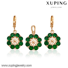 64245 18 karat gold schmuck großhandel mode heißer verkauf bunte elegante colorized blume typ diamant vergoldet schmuck sets