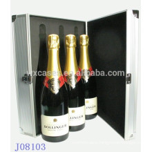 high quality aluminum wine box for 3 bottles from China factory wholesales