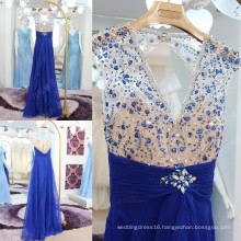 Custom Made Sexy V-neck See Through Bodice Royal Blue Evening Dresses 2016 Pleated Sash Beaded Open Back Long Party Dress ML194
