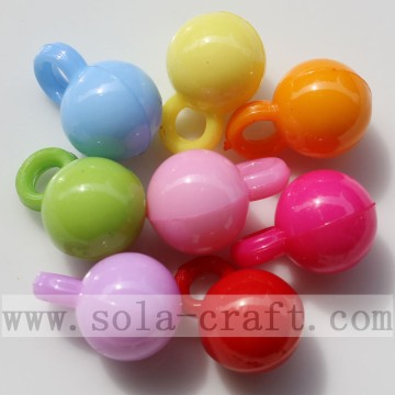Nice Round Acrylic Assorted Solid Opaque Color Bead Pendant-