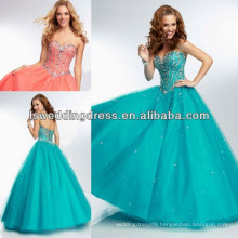 HE2123 Bright coral floor-length sheer tulle back prom dress