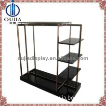 luxury stainless steel hanging glass rack/garment store display