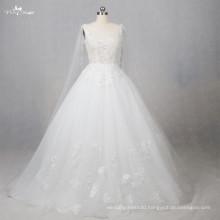 TW0189 Cloak Luxury Rhinestone Applique Tulle Fabric Luxury Wedding Dress Ball Gown