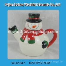 Funny muñeco de nieve en forma de bulbo de tetera de cerámica para los adornos de Navidad