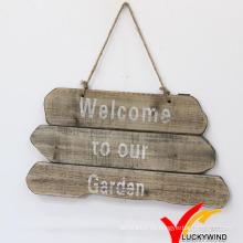"""""""Bienvenido a nuestro jardín"""" Casa de madera hecha a mano Vintage Wood Sign"""