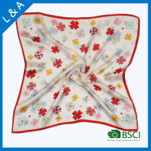 Real Silk Satin Flowers in The Small Square Scarves, Stewardess Scarf