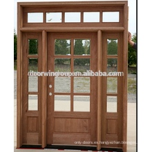 Puerta con bisagras de moda simple, con puerta de vidrio, puerta de madera hecha de madera maciza de roble americano
