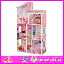 2014 mode nouveau jouet de maison de poupée en bois, jouets éducatifs pour enfants de maison de poupée, vente chaude 3D jouet de maison de poupée en bois bébé W06A046