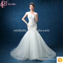 El último diseño elegante de hombro Alibaba vestido de novia de sirena 2017