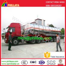 Semi-remorque de camion-citerne d'acier inoxydable de réservoir à essence