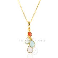 Colorful Multi Gemstones Colares de prata esterlina, encantos de pedras preciosas Silver Necklace