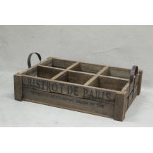 6 compartiments de porte-vin antique en bois avec poignée