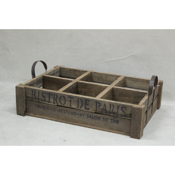 6 Compartment Wood Antique Wine Holder with Handle