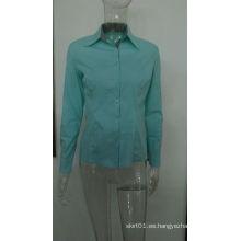 2015 nuevo diseño de algodón de manga larga de ocio Turn-Down Collar Mujer camisa para la señora