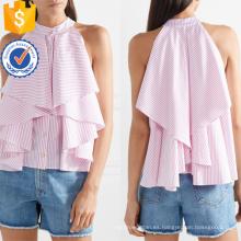Con volantes de rayas blancas y rosadas de algodón sin mangas de verano Top fabricación al por mayor de moda las mujeres prendas de vestir (TA0092T)