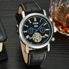 custom luxury automatic case leather mens watch