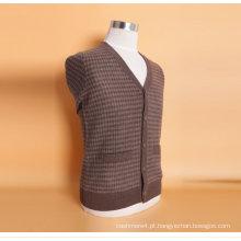 Yak lã / Cshmere V Neck Cardigan manga comprida camisola / vestuário / vestuário / malhas