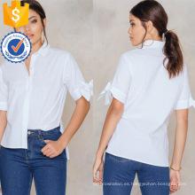 La última blusa del verano de la manga corta del algodón blanco del diseño con la fabricación del arco vende al por mayor la ropa de las mujeres de la moda (TA0036B)