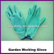 Guante de trabajo revestido de nylon del jardín de la PU para la dirección general