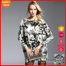 Neuer Entwurf strickte extra lange Frauen voll Jacquard Pullover Pullover