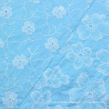 New product woven blue lace eyelet big floral 100% cotton poplin embroidery fabric for women shirts