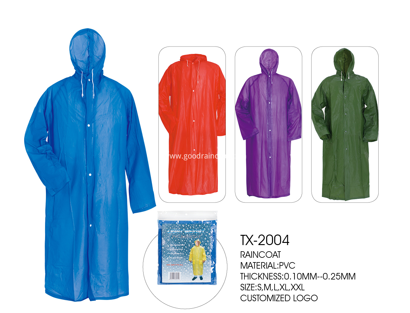 blue raincoat