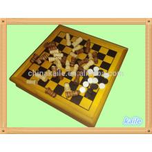 5 en 1 jeu de jeu en gros multi jeu d'échecs pack dans une boîte en bois
