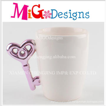 Purple Handle Key Shape White Ceramic Coffee Cup