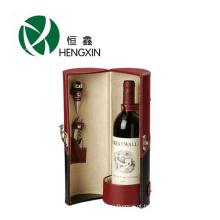 Caixa de vinho de couro para garrafa única