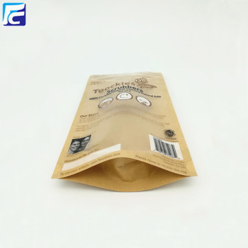 Zip lock clear bolsa de papel kraft para café