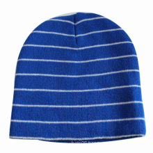 Blank Strip Jacquard Knitted Hat Without Cuff