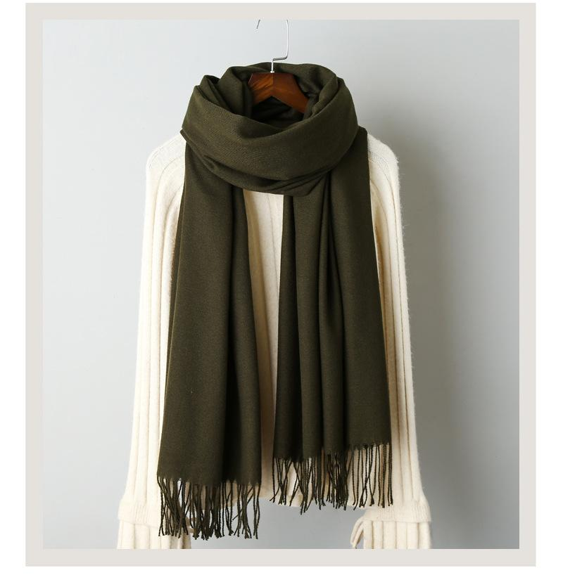 Cashmere solid color scarf knitted tassel shawl (2)