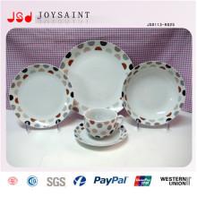 Taza y plato de la placa de la vajilla de la porcelana de la etiqueta 14PCS