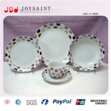 14PCS Decal Porcelain Tableware Plate Cup &Saucer