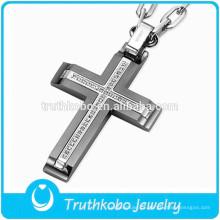 Cruz Com Bíblia Pingente de Jóias Religiosas Aço Inoxidável Crucifixo Fábrica Por Atacado Pingente de Cruz para o Homem