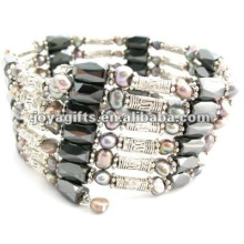 Magnetic Gray Pearl Beaded wrap Bracelets & Necklace 36""