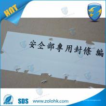 Etiqueta destructible, etiqueta engomada del papel frágil, etiqueta autoadhesiva del vinilo destructible