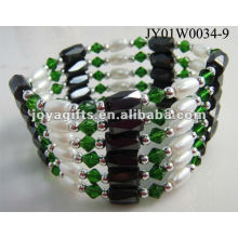 Magnetic Green Glass Beaded wrap Bracelets & Necklace 36""