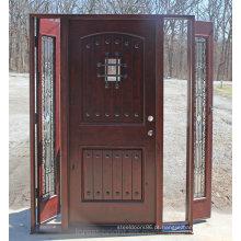 Porta de madeira do amieiro Knotty exterior com ferro forjado e lado Lite