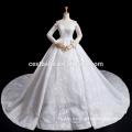 lujo más la manga larga del tamaño del vestido de boda del cordón del hombro