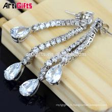 Boucles d'oreilles élégantes Design Zircone Diamond Bridal Long Dangle Boucles d'oreilles