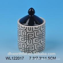 2016 de la moda de diseño de la fábrica de venta directa de cerámica alimentos sellado tarro