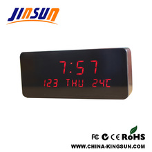 Calendar Wood Led Clock Temperature Display