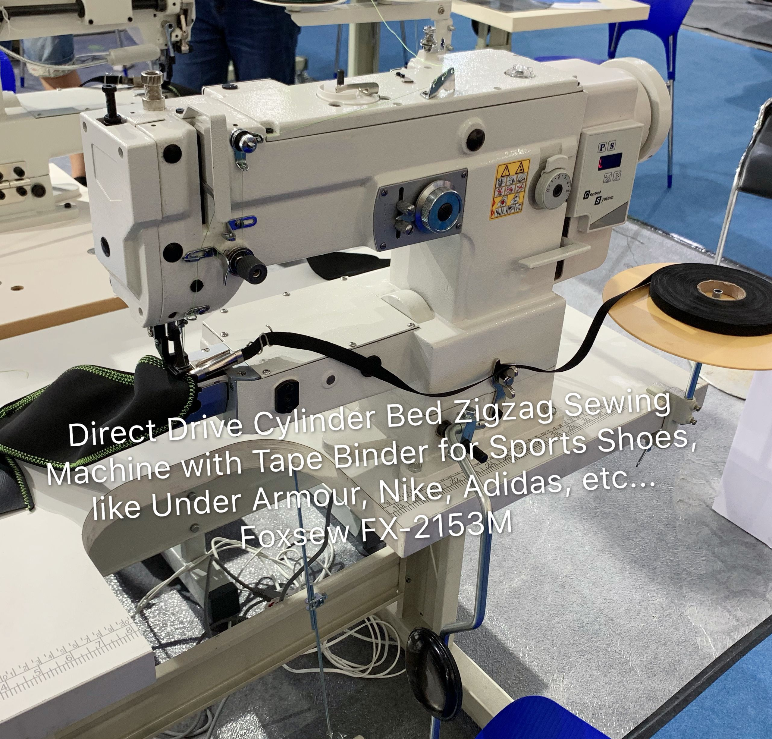 Direct Drive Cylinder Bed Zigzag Sewing Machine for Tape Binding on Sports Shoes Foxsew FX-2153M-01-003