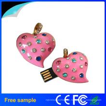 Colar e pingente OEM lindo dom jóias coração forma flash USB mergulho