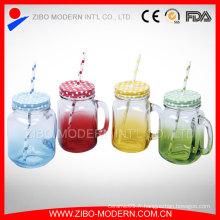 Boite à boire en gros 16 po de pot de verre transparent avec poignée