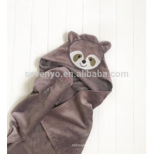 Baby towel with hood animal face racoon personalized present up to 1 year size